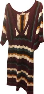 American Rag short dress Burgundy, white, gold, real and black stripes on Tradesy