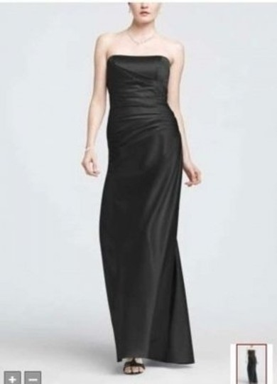 David's Bridal Black Satin F13974 Formal Bridesmaid/Mob Dress Size 10 (M)