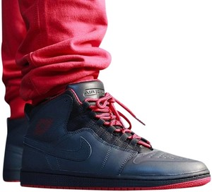 Air Jordan black , red leather Athletic