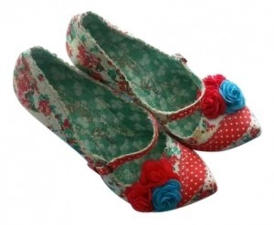 Irregular Choice white blue red floral Pumps