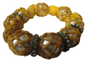 LANVIN LANVIN AUTHENTIC NWT RAFFIA WRAPPED YELLOW BRACELET