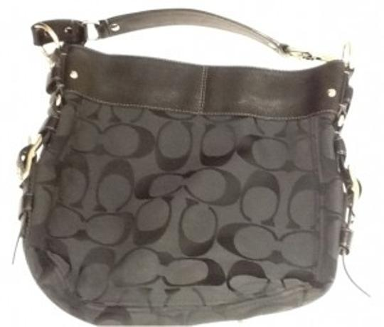 Preload https://item5.tradesy.com/images/coach-hardware-black-traditional-cloth-w-leather-trim-satchel-15609-0-0.jpg?width=440&height=440
