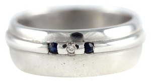 Chic Modern Wide Band 925 Sterling Silver Natural Diamond & Sapphire Ring Sz 6.5
