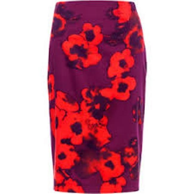 Item - Poppy and Purple Floral Pencil Color Skirt Size 4 (S, 27)
