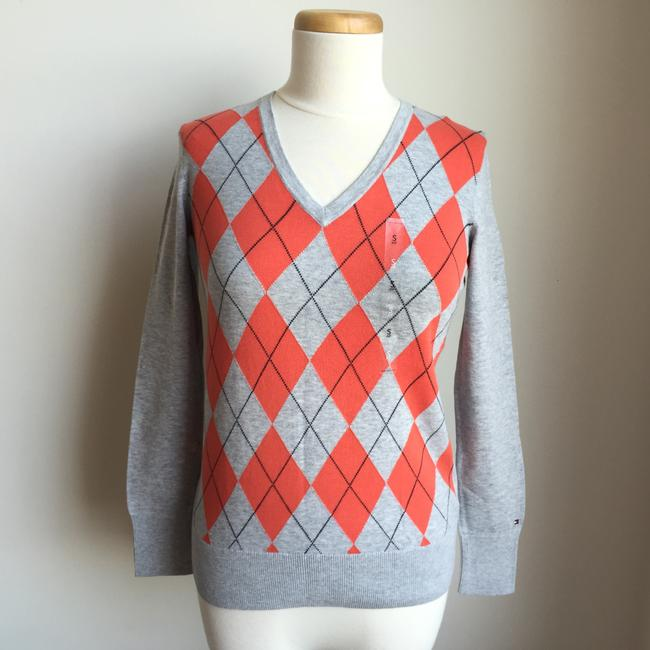 Tommy Hilfiger Argyle Pima Cotton V-neck Sweater