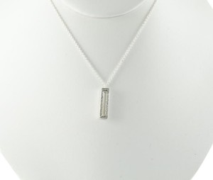 Ippolita IPPOLITA STERLING SILVER DIAMOND STELLA LINEAR RECTANGLE PENDANT NECKLACE
