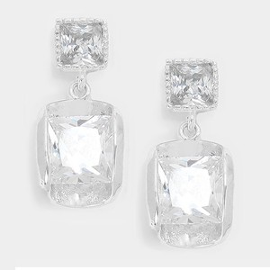 Clear Silver 14 K White Gold Plated Cz Crystal Earrings