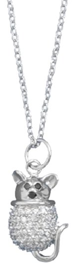 Impulses Sterling Silver Rhodium Plated CZ Mouse Necklace
