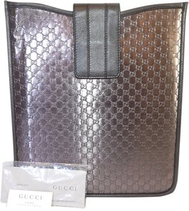 Gucci Gucci Smokey Gray Pewter Metallic Leather iPad Cover