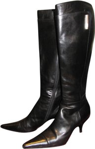 Michel Perry Leather Knee High Kitten Heels Designer Black Boots