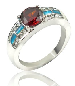 White Gold Filled Opal Garnet Band Ring Free Shipping