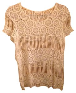 Anthropologie Boho Coachella Crochet Cotton Top White