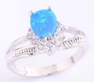 Reduced! Blue Fire Opal And White Topaz Fashion Ring Free Shipping