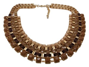 Shades of Chocolate Necklace 18in in YG PTD Stainless Steel w Free Shipping