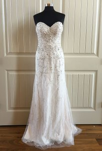 Martina Liana Ivory Lace/Cafe Over Lustre Satin 618 Feminine Wedding Dress Size 8 (M)