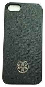 Tory Burch Robinson Iphone 5/5s Hardshell Saffiano Leather Black Smartphone Case Gold Logo