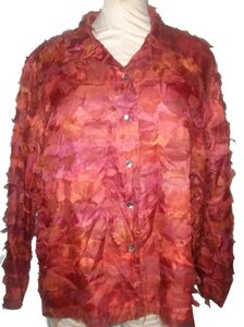 Chico's Button Down Shirt Rust Colored