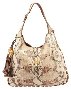 Gucci New Jackie Python Beige Hobo Bag
