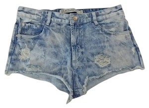 Zara Acidwash Size6 Cut Off Shorts Blue