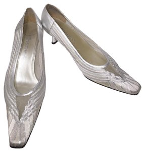 J. Renee Easy Slip Heels Closed Toe Silver Pumps