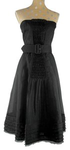 Max Mara Pianoforte Silk Organza Strapless Belted Dress
