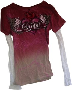 Sinful T Shirt Red with white and tan