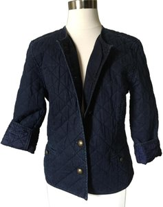 Ralph Lauren Quilted Jean Cotton Jean Jacket Cropped Jean Navy Blazer