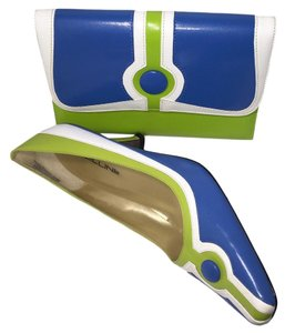 Bellini Purse Purse Wristlet in Blue | White | Lime Green