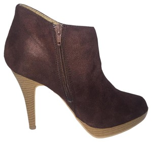 Wild Diva Woodgrain Heel Ankle Brown Boots