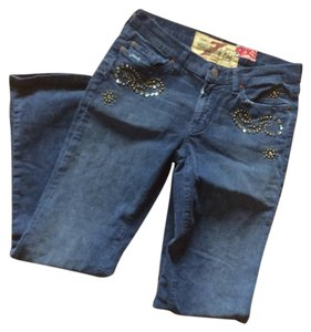 7 For All Mankind Denim Studded Boot Cut Pants