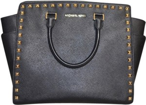 Michael Kors Studded Selma Leather Satchel in Black and Gold