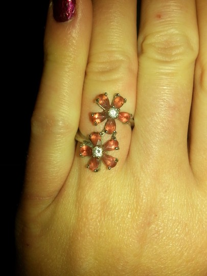 Ruby Rox Pretty Double flower pink Ruby & White sapphire ring