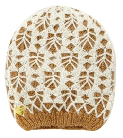 Betsey Johnson Betsey Johnson Lacey Knit Beanie - Caramel/Ivory (Brand New)