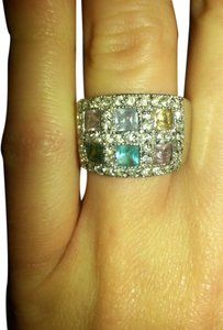 Other Rare! Multi Gemstone & Crystal Wide band Ring