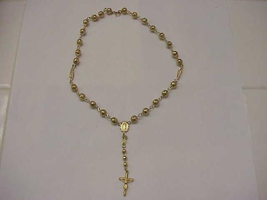 Other Estate Vintage 14k Solid Yellow Gold Rosary Beads & Crucifix/Cross Necklace Image 1