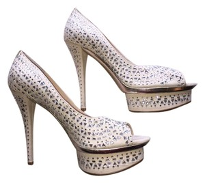 Enzo Angiolini Wedding Pearl & Silver Pumps