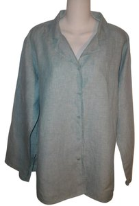 Eileen Fisher Button Down Shirt Aqua Blue