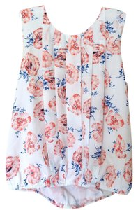 Anthropologie Floral Draped Open Back Sleeveless Top White