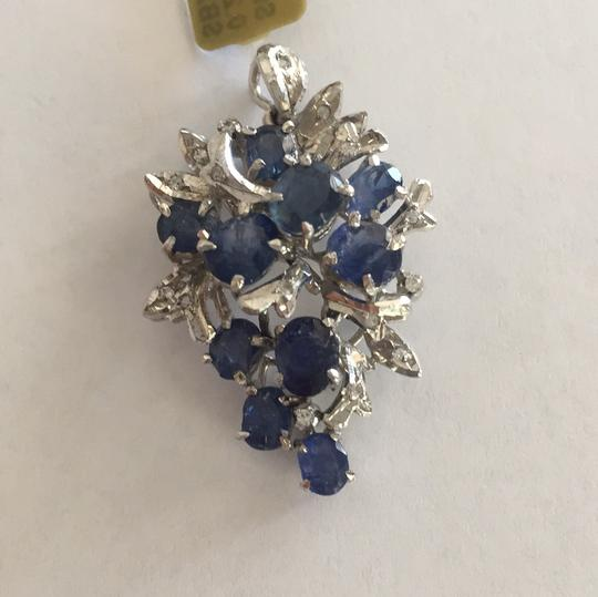 Other Sterling Silver Sapphire And Single Cut Simulants Pendant Image 1