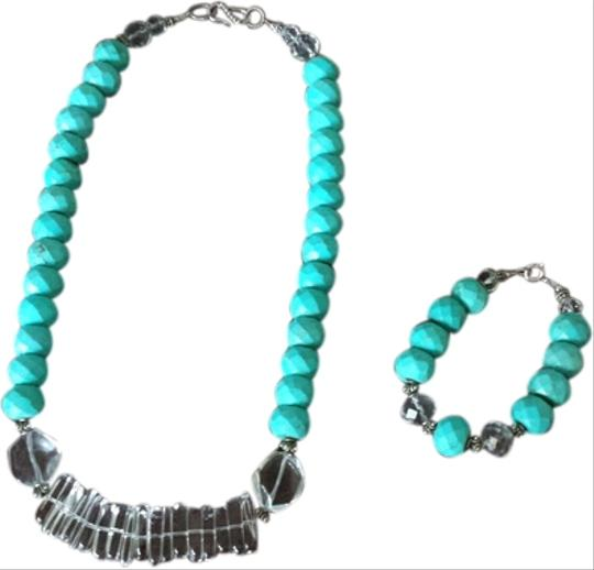 Handmade Set Handmade chunky turquoise bead necklace and bracelet