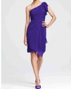 David's Bridal Regency Purple Chiffon And One Formal Bridesmaid/Mob Dress Size 6 (S)