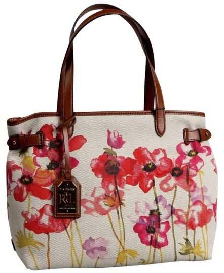 Ralph Lauren       Poppy Floral Tote Multi Colored Canvas Shoulder ... 0ac75522ef5b6