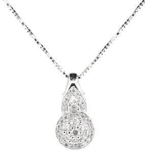 10K White Gold 1.0Ct Cluster Round Diamond Pendant necklace 6.9 Grams 19