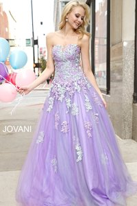 Jovani 24180 Lilac Lace Up Ball Gown Wedding Dress