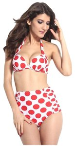 Other Brand New Red And White Polkadots High-waisted Swimsuit