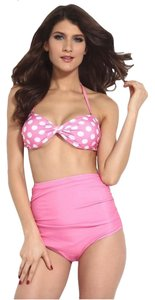 Other Brand New Pink and White Polkadots High-waisted Swimsuit