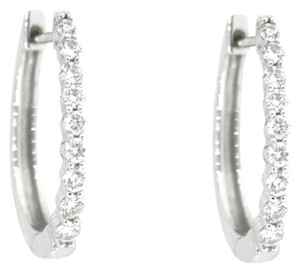 Other 14K White Gold 0.50Ct Round Diamond Hoop Earrings 3.4 Grams