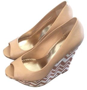 bebe Nude Gold Silver Wedges