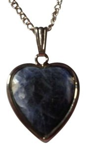 Unknown Like new blue Marble on silvertone heart necklace