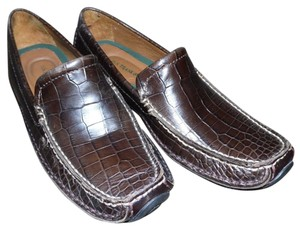 H.S. Trask Moc Croc Embossed Croc Driving Loafer brown Flats
